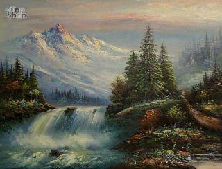 WASSERFALL LANDSCHAFT  ÖLGEMÄLDE Gemälde Öl Bild Oil Painting