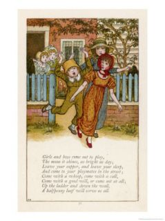 Girls and Boys Come out and Play the Moon Doth Shine as Bright as Day Giclee Print by Kate Greenaway