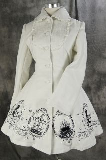 21 Gothic Lolita weiß white Stickerei Jacke winter Mantel Coat