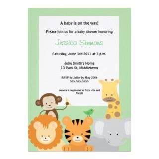 Jungle Baby Shower   Boy/Girl Personalized Invitations