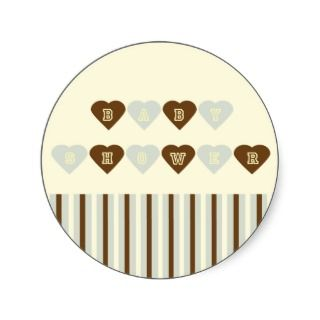 Light Green Brown Hearts Baby Shower Sticker
