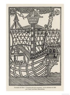 Spanish Sailing Vessel of Columbuss Time Depicted Giclee Print