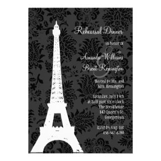Damask Paris Rehearsal Dinner (black) by preyfancyinvies