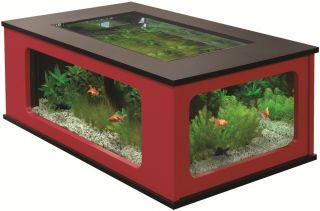 Aquatable 130 Schwarz/Rot Aquarium als Wohnzimmertisch