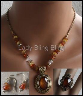 tlg. Schmuckset Perle Perlen Schmuck Set Kette + Ohrringe + Ring