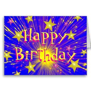 Firework Happy Birthday greetings card