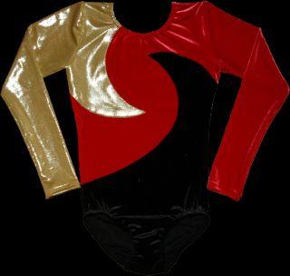 Turnanzug Gymnastikanzug Samt schwarz rot gold 116 170