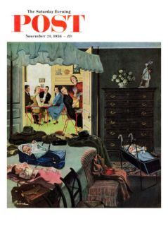 Baby Bridge Party Saturday Evening Post Cover, November 24, 1956 Giclee Print by Ben Kimberly Prins