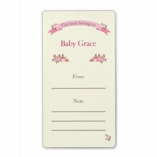 Pink Floral Bookplate Personalized Shipping Label