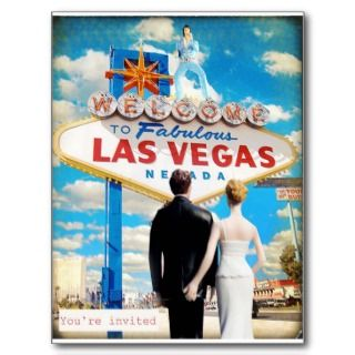Las Vegas Wedding Invitation Post Card