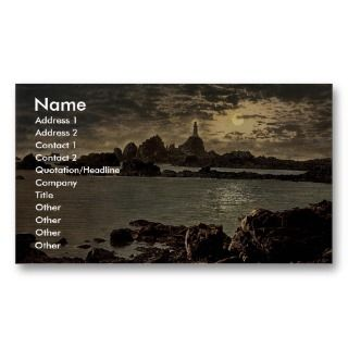 Jersey, Corbiere Lighthouse by moonlight, Channel Business Cards