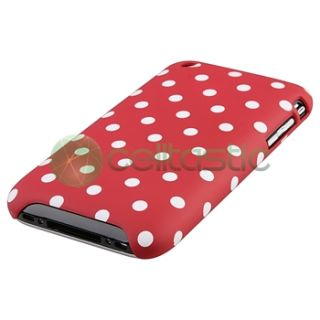 2x Red/White Dot+White/Pink Flower Cover Case For iPhone 3G 3GS