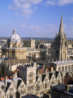 Aerial View Over the Dome of the Radcliffe Camera and a Spire of an Oxford College, England, UK Photographic Print by Nigel Francis