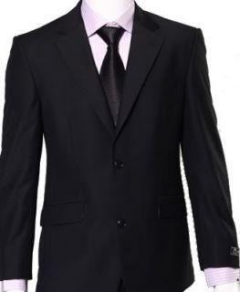 Anzug Jacke + Hose Italienisch Herren 2 Taste Geschäft Wolle schwarz