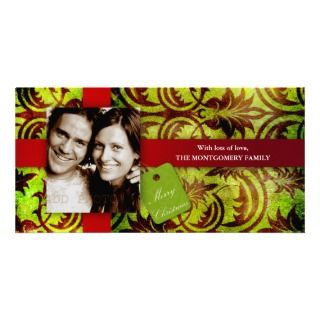 GC  Vintage Red & Green Wallpaper Xmas Card Photo Card