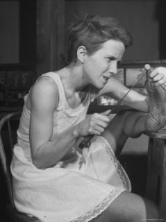 Actress Julie Harris, Digging Splinter from Foot with Knife in Scene from Member of the Wedding Premium Photographic Print by Eliot Elisofon