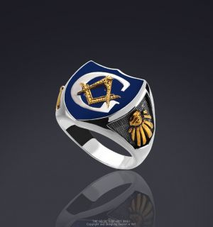MASONIC POLICE RING SILVER 925 RING BLUE ENAMEL 24K GOLD PLATED