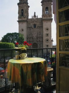 View of the Parroquia De Santa Prisca Church from a Cafe Balcony Photographic Print by Gina Martin