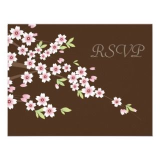 Brown and Cherry Blossom Wedding RSVP Announcement