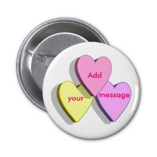 Customizable Valentine Candy Hearts  Custom Pins