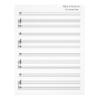 Blank Sheet Music Bass Clef Letterhead Template