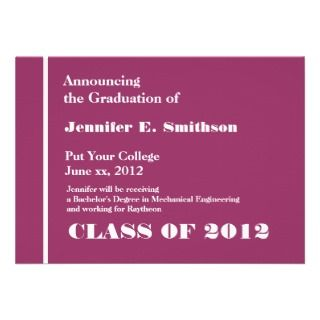 Pink and White College Graduation Announcement