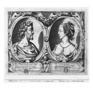 Pierre De Ronsard, Aged 27 and Cassandre Salviati (Engraving) (B/W Photo) Giclee Print by Claude Mellan