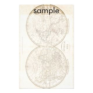 Vintage World Map Custom Stationery