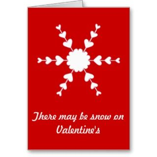 Red White Valentine Heart Snowflake Greeting Card