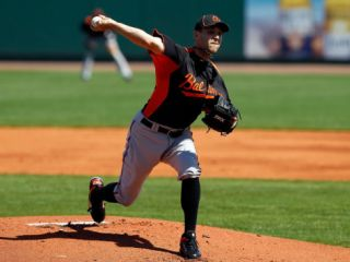 Baltimore Orioles v Pittsburgh Pirates, BRADENTON, FL   FEBRUARY 28: Brad Bergesen Photographic Print by J. Meric