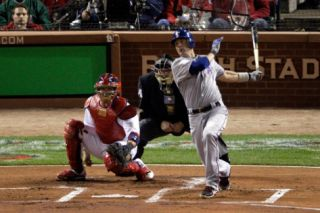 2011 World Series Game 7   Rangers v Cardinals, St Louis, MO   October 28: Michael Young Photographic Print by Rob Carr