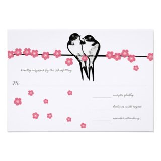 Vintage Cherry Blossom Swallow Wedding Invite