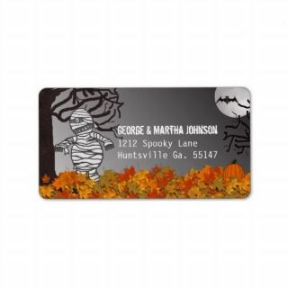 Mummy Halloween Address Stickers Personalized Address Labels