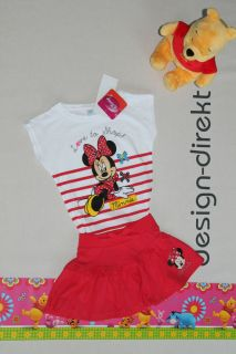 142  süsses DISNEY MICKEY MAUS MINNIE Set  Shirt + Rock Gr. 128 NEU