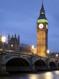 Westminster Parliament across River Themes at Dusk Photographic Print by Sean Caffrey