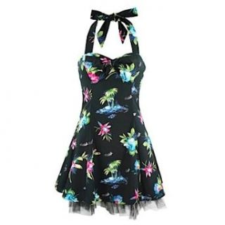 Neckholder Kleid PALM & FLOWERS DRESS black Bekleidung