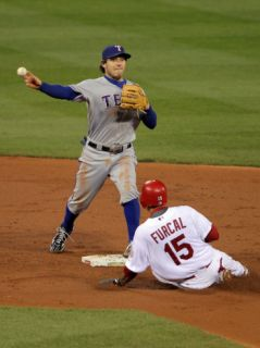 Game 7   Rangers v Cardinals, St Louis, MO   October 28: Ian Kinsler and Rafael Furcal Photographic Print by Doug Pensinger