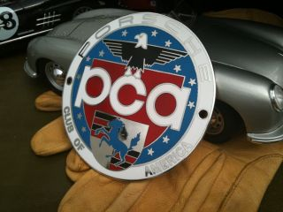 Porsche Club America, PCA, badge. Solid brass and enamel car badge in