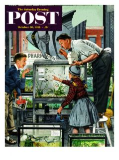 Fish Aquarium Saturday Evening Post Cover, October 30, 1954 Giclee Print by Stevan Dohanos