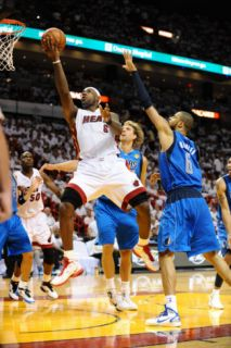 Dallas Mavericks v Miami Heat   Game One, Miami, FL   MAY 31: LeBron James and Tyson Chandler Photographic Print by Garrett Ellwood