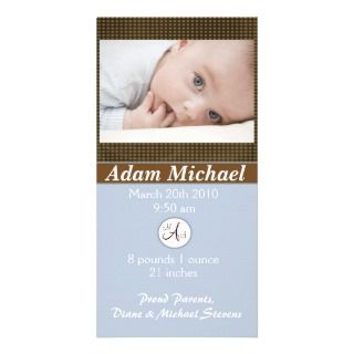 Baby Boy Birth Announcement Custom Photo Card