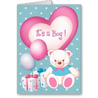 Baby Boy Birth Announcement Blank Card