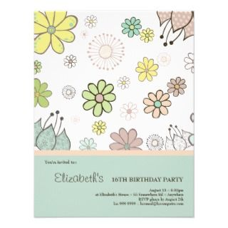 Flower Drawings Birthday Party Custom Invitation