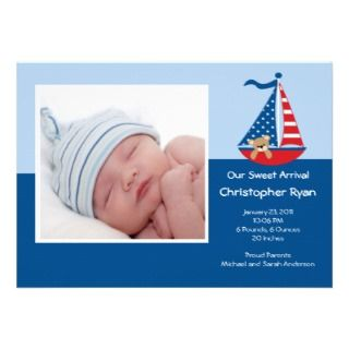 SAILBOAT Baby Boy Photo Announcement