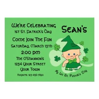 Plaid Boy 1st St. Patricks Day Custom Invitation