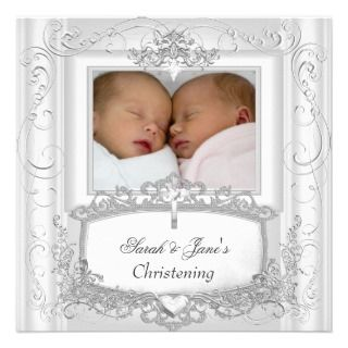 Girl or Boy Christening Baptism White Announcements