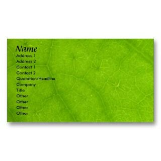 Profile Card Template   Green Leaf Texture Business Card Templates