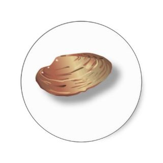 Clam Shell Image Round Stickers
