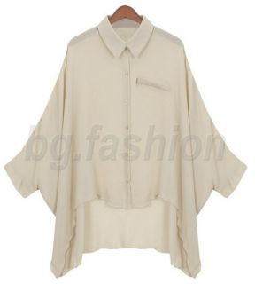 2011 Ladies Chiffon Tops Shirt Asym Hem Blouse 2 COLORS