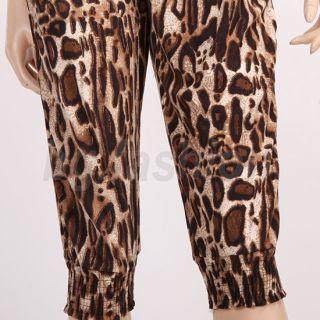 Neu Damen Overall Jumpsuit Catsuit Pants Hose Leopard